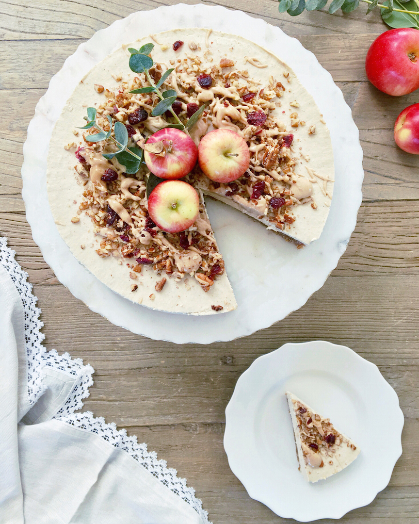 Caramel Apple Cheesecake (Raw, Vegan) by Plantbased Baker