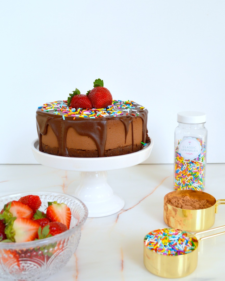 Triple Chocolate Funfetti Cake (Raw, Vegan) by Plantbased Baker