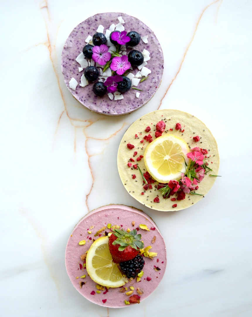 Mini Lemon Ginger, Strawberry Lemon and Blueberry Lavender Cheesecakes