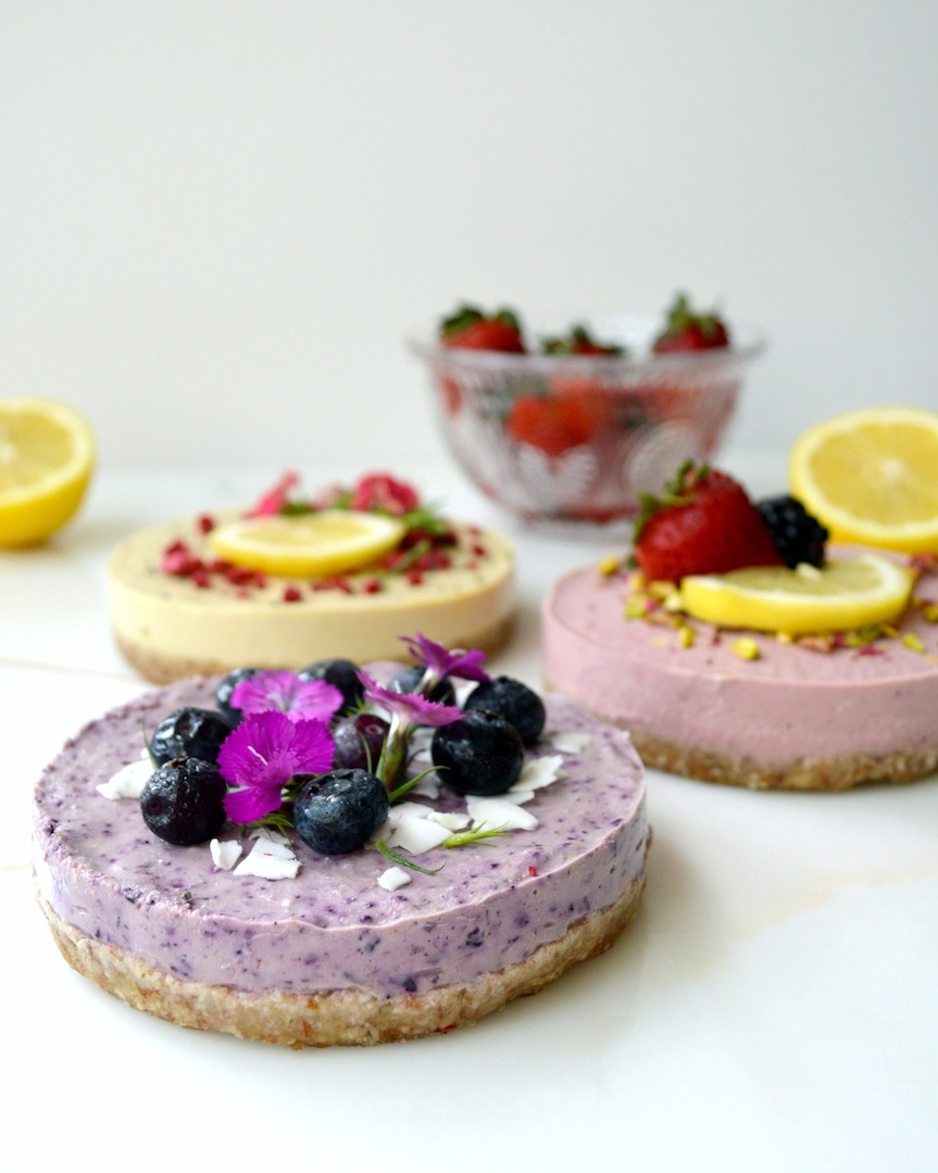 Mini Lemon Ginger, Strawberry Lemon and Blueberry Lavender Cheesecakes (Raw, Vegan) by Plantbased Baker