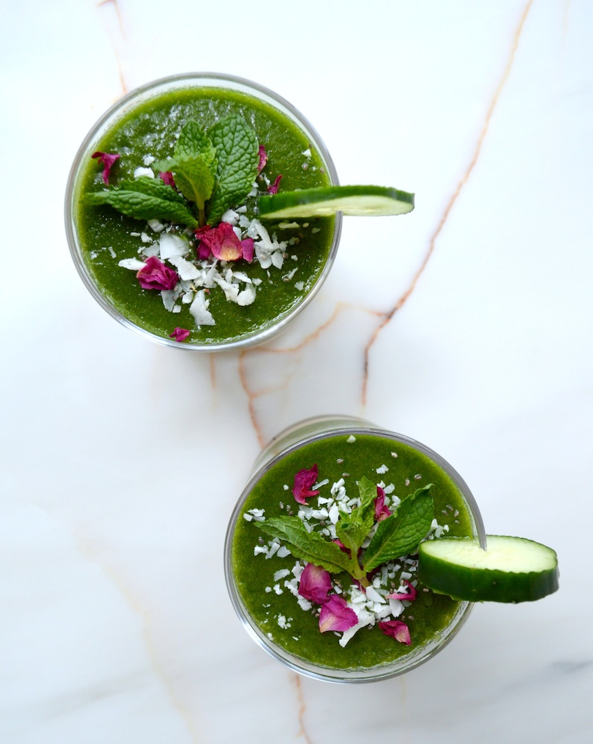 Melon Mint & Cucumber Smoothie  by Plantbased Baker