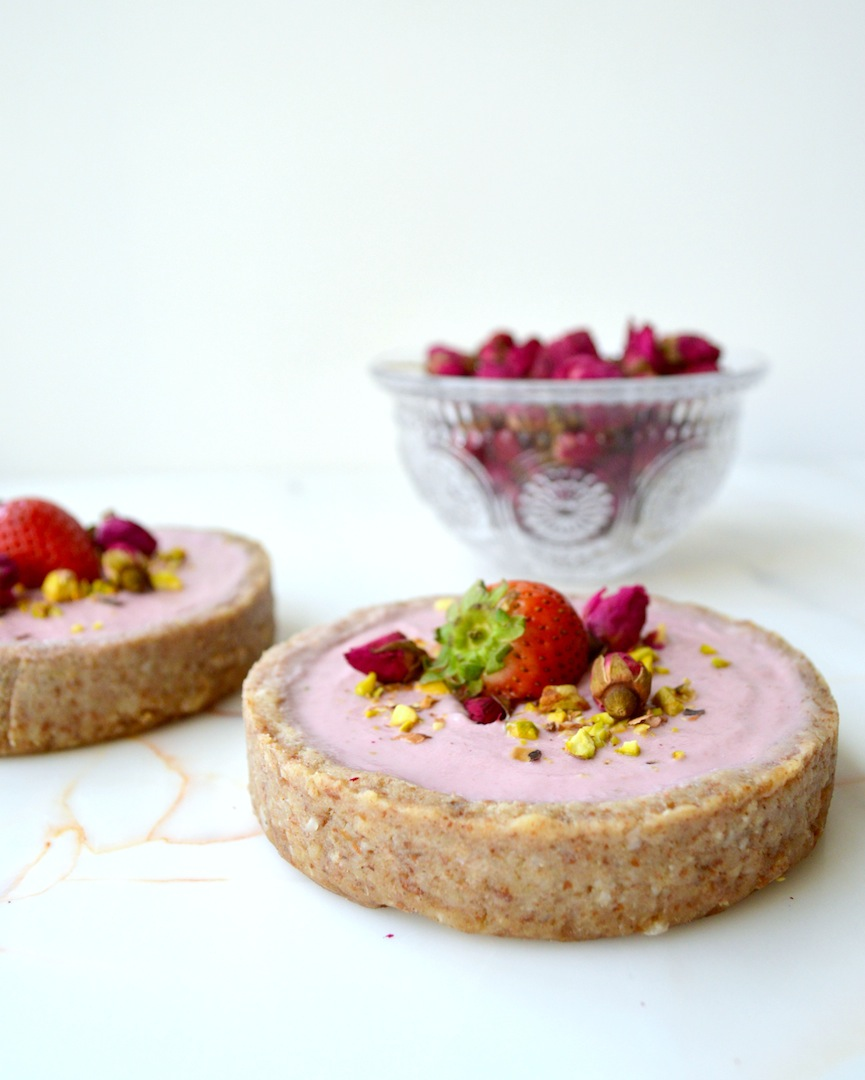 Strawberry Rose Cheesecake Tarts (Raw, Vegan) by Plantbased Baker