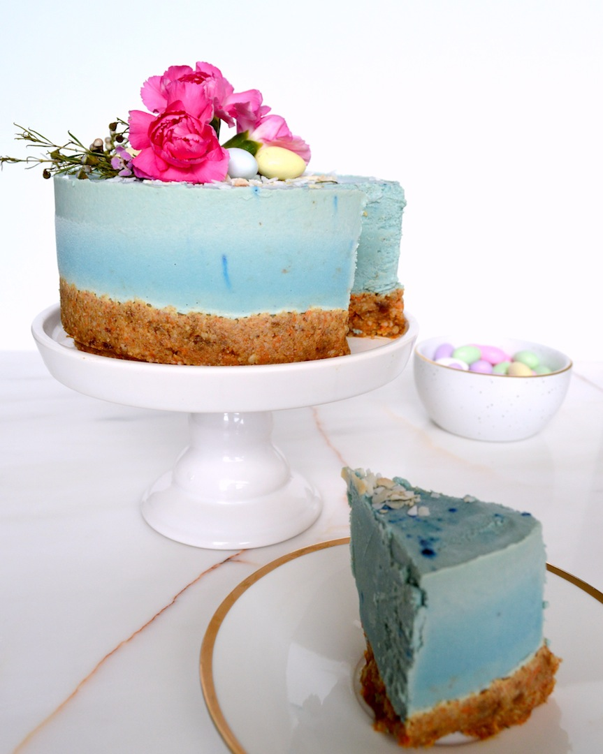 Blue Bird Cake - Hummingbird and Carrot Cake with Blue Majik (Raw, Vegan) by Plantbased Baker