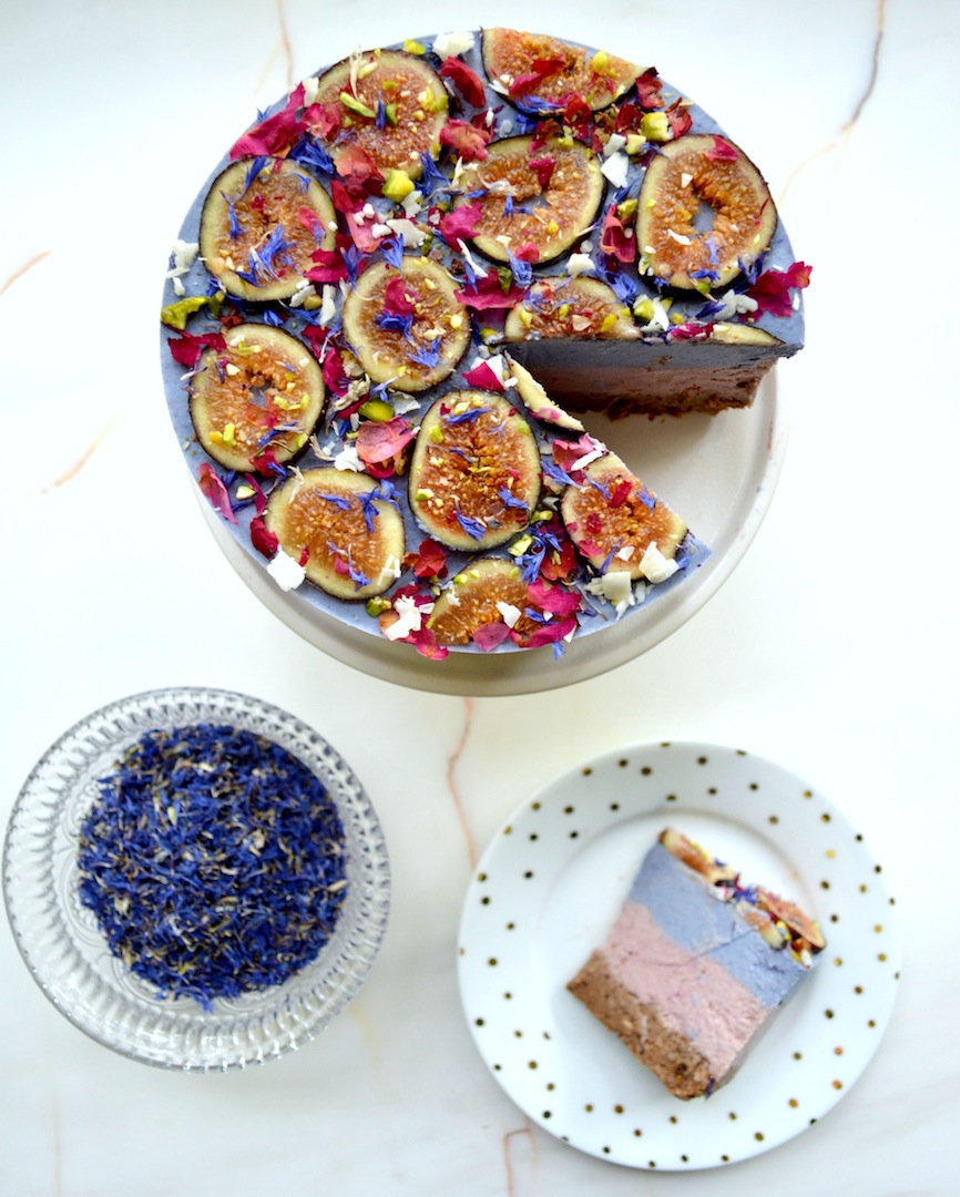 Blue Matcha & Fig 'Kaleidoscope' Cheesecake