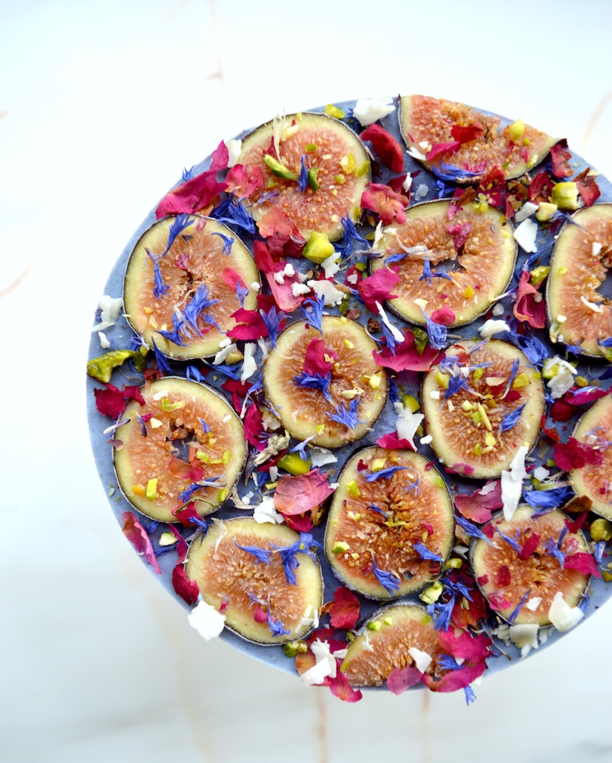 Blue Matcha & Fig 'Kaleidoscope' Cheesecake (Raw, Vegan) by Plantbased Baker