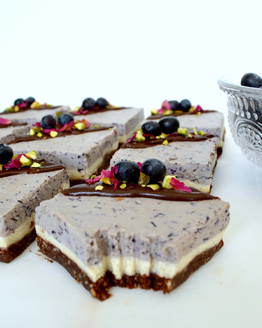 Blueberry Dream Bars with Chocolate Hazelnut Crust (Raw, Vegan) by Plantbased Baker