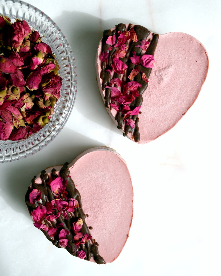 Chocolate Beetroot and Rosewater Cheesecakes