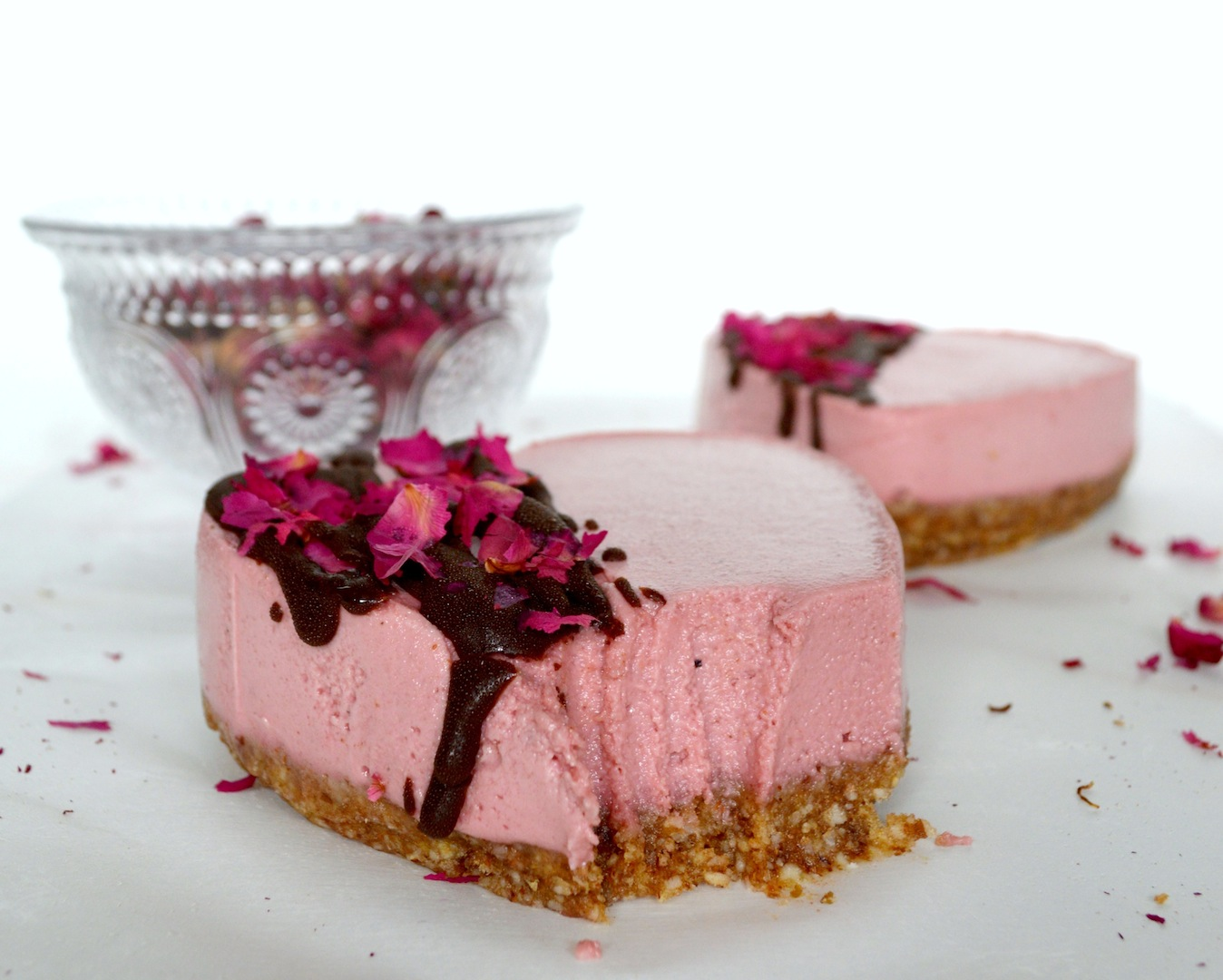 Chocolate Beetroot and Rosewater Cheesecakes (No-Bake, Vegan) by Plantbased Baker
