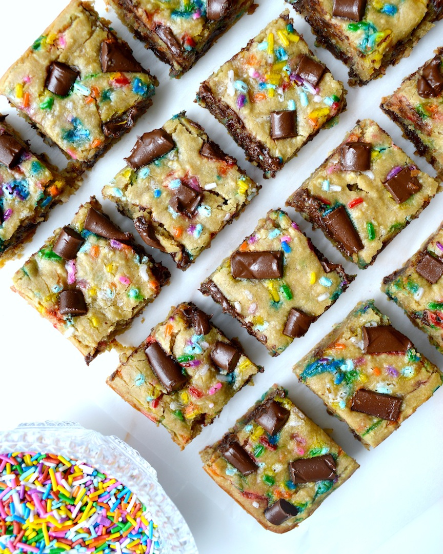 Funfetti  Chocolate  Chunk  Chickpea  Blondies  (Vegan,  Gluten-Free) by Plantbased Baker