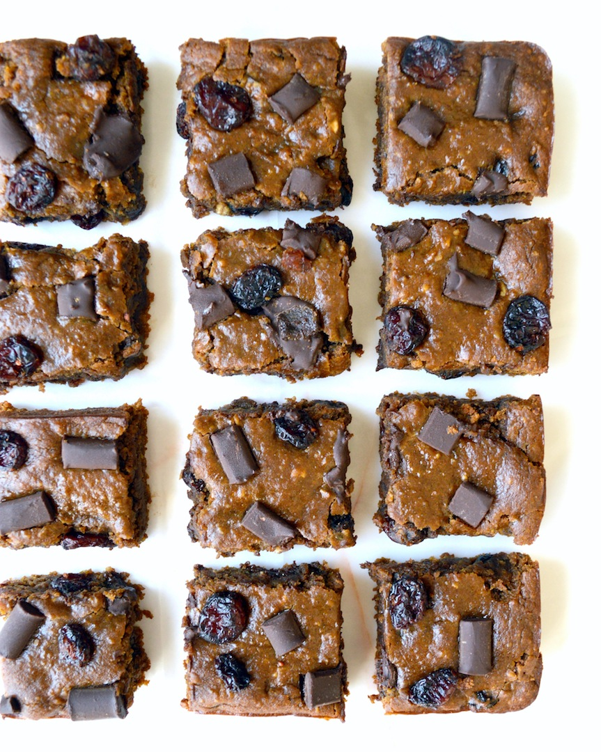 Gingerbread Cranberry Chocolate Chunk Chickpea Blondies (Vegan, Gluten-Free) by Plantbased Baker