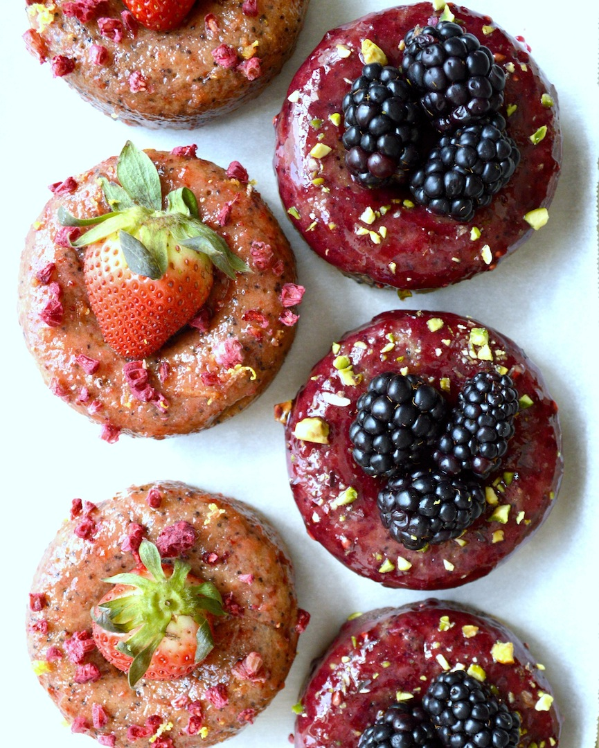 Lemon  Poppyseed  Donuts  with  Blackberry  Lavender  and  Strawberry  Glaze    (Gluten-Free,  Vegan) by Plantbased Baker
