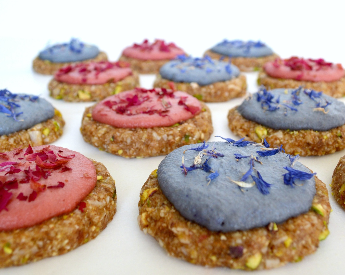 Pistachio Coconut Cookies with Rose and Lavender Cashew Cream (Raw, Vegan)  by Plantbased Baker