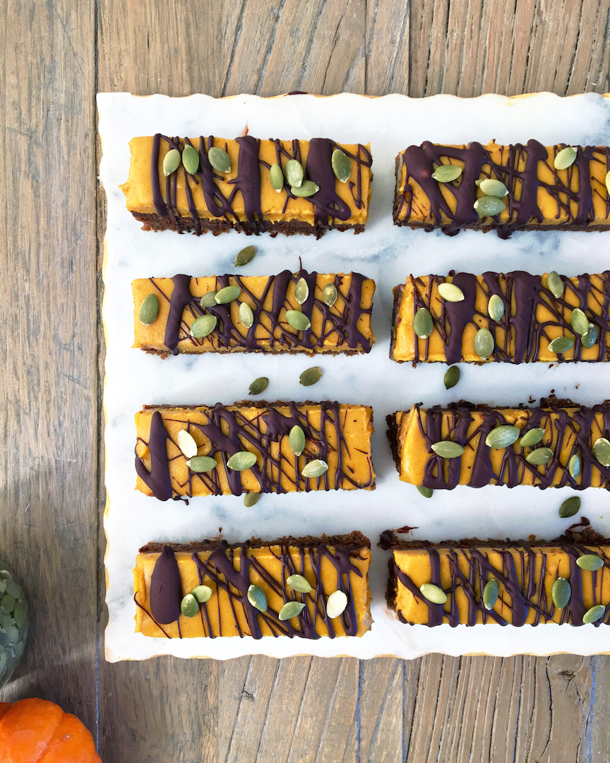 Pumpkin Chocolate Bars with Gingersnap Crust